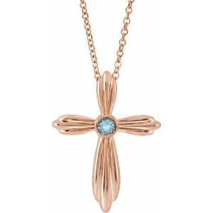 """14K Rose Aquamarine Cross 16-18"""" Necklace"""