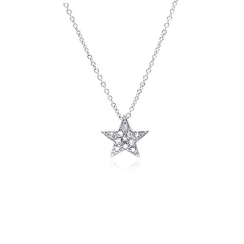 925 Clear CZ Rhodium Plated Covered Star Pendant Necklace