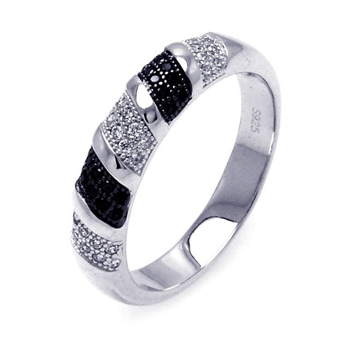 925 Rhodium and Black Rhodium Plated Black and Clear Micro Pave CZ Stripe Ring