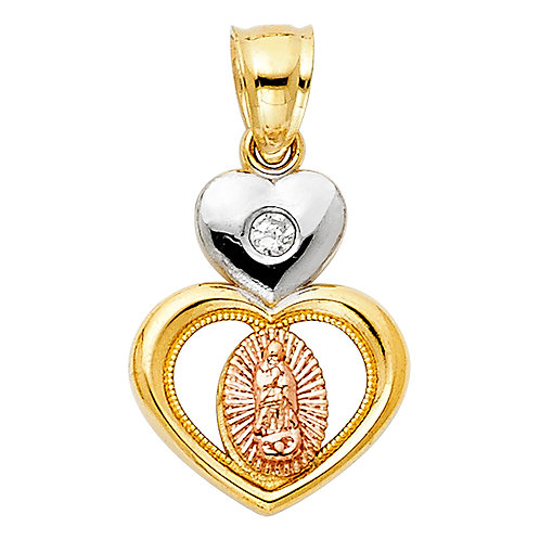 14K 3C CZ OUR LADY OF GUADALUPE PENDANT