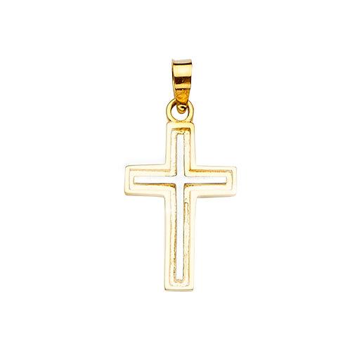14K 2Tone Cross Pendant