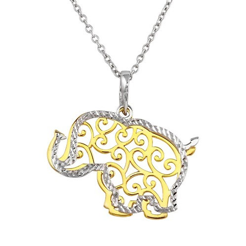 925 2 Toned Rhodium and Gold Plated Elephant Necklace