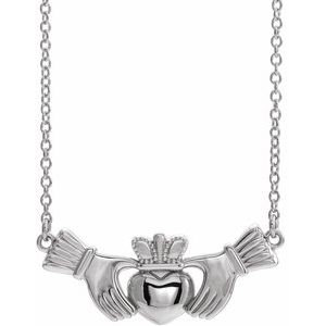 "14K White Claddagh 16"" Necklace"