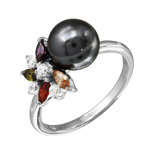 Black Pearl Flower Sterling Silver Ring