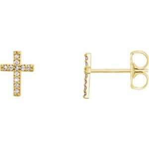 14K Yellow .05 CTW Diamond Cross Pair of Earrings