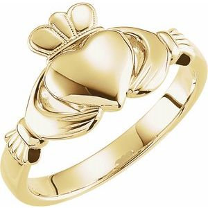14K Yellow 8.5 mm Claddagh Ring Size 7