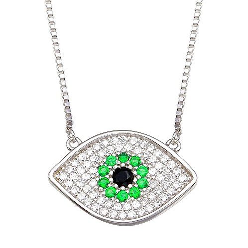 925 Rhodium Plated Evil Eye Necklace with Green and Clear CZ