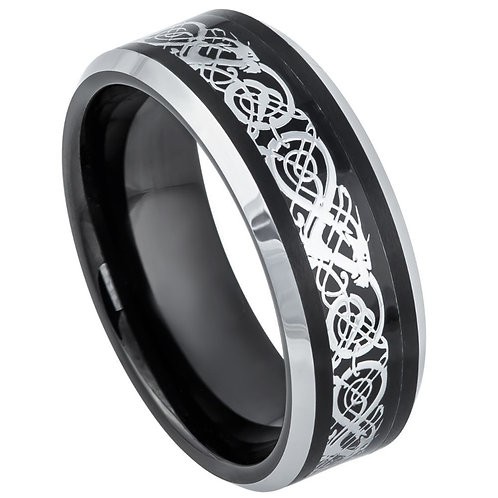 Black IP & Stainless Steel Celtic Inlay - 8mm