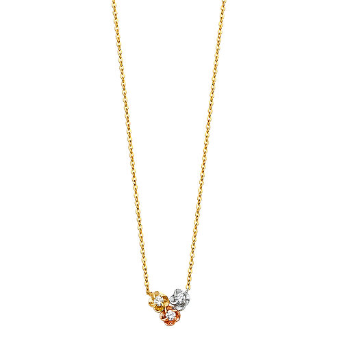 14K Gold Fancy Flower Necklace with CZ Stone