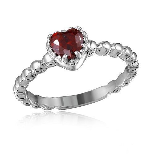 Red Heart CZ Center Sterling Silver Beaded Band Stackable Ring