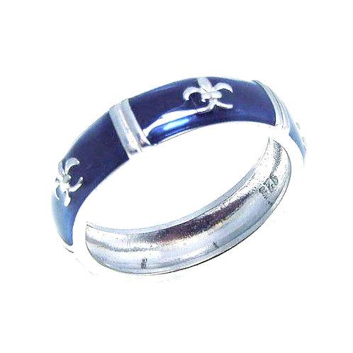 Fleur De Lis Sterling Silver Ring Band