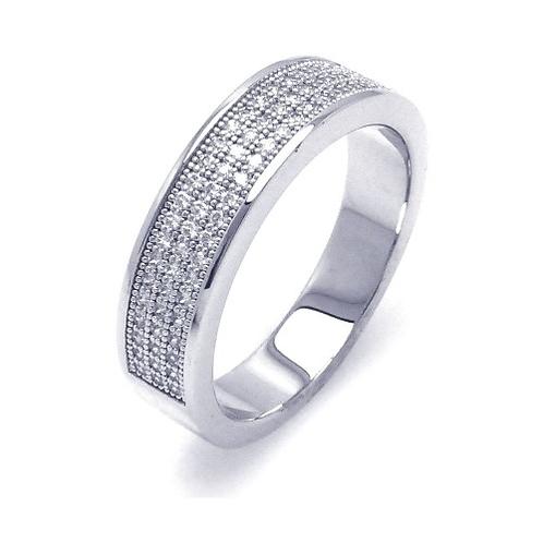 925 Rhodium Plated Half Micro Pave CZ Ring
