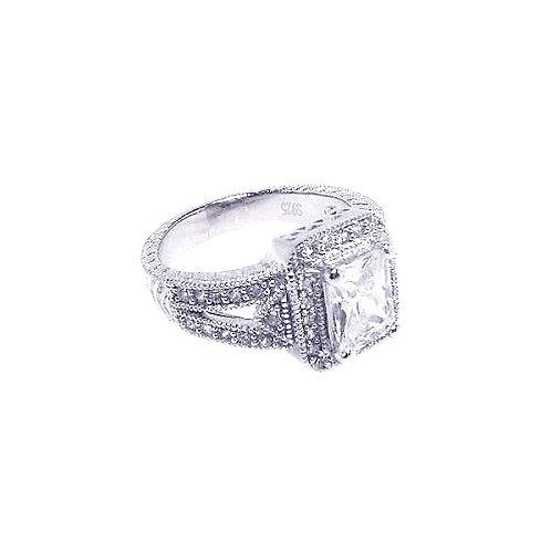 925 Rhodium Plated Micro Pave Clear Cluster CZ Square Ring