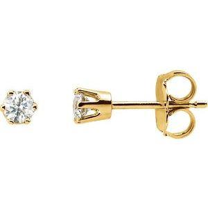14K White 1/4 CT Diamond Earring