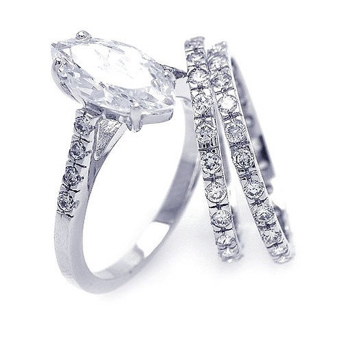 925 Rhodium Plated Clear Marquise Center Round CZ Bridal Ring Set