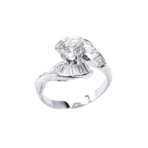 925 Rhodium Plated Clear Baguette CZ Wave Ring