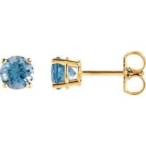 14K Yellow 4 mm Round Swiss Blue Topaz Earrings