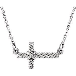 "14K White 8.65x16 mm Sideways Rope Cross 16.5"" Necklace"