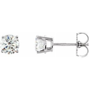 Sterling Silver 6 mm Round Cubic  Zirconia Earrings