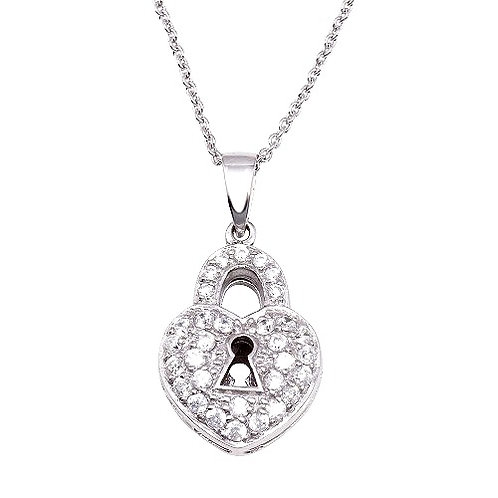 925 Clear CZ Rhodium Plated Key Padlock Heart Pendant Necklace