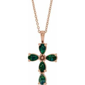 """14K Rose Cabochon Created Mosaic Opal Cross 16-18"""" Necklace"""