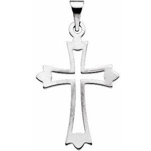 14K White 24x18 mm Cross Pendant