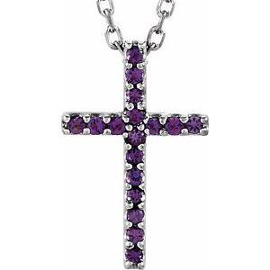 "14K White Amethyst Petite Cross 16"" Necklace"