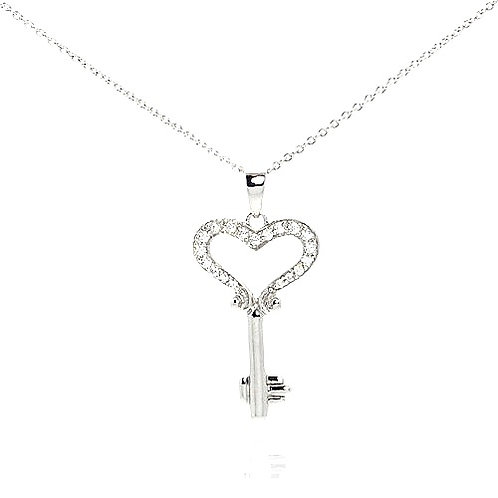 925 Black Rhodium Plated Clear CZ Key Heart Pendant Necklace