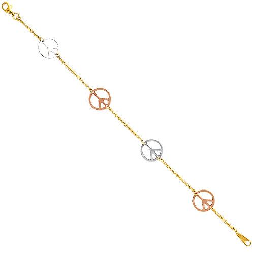 14K Three Tone Piece Sign Bracelet
