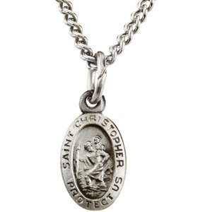 """Sterling Silver 9x6 mm Oval St. Christopher 18"""" Necklace"""