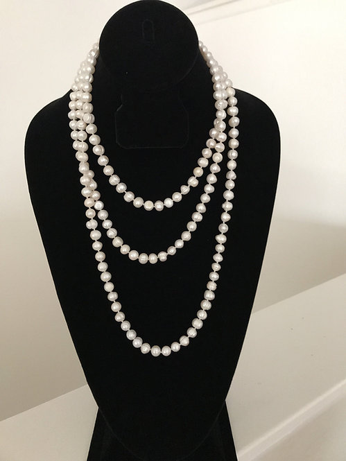 White Freshwater Cultured Pearl 63 Inches Necklace