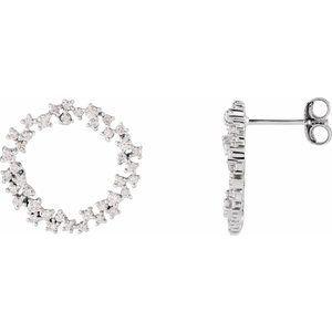 14K White 3/4 CTW Diamond Circle Earrings