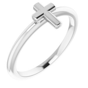 Sterling Silver Stackable Cross Ring