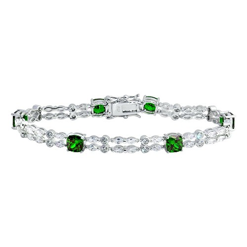925 Rhodium Plated 2 Row Clear and Green CZ Tennis Bracelet