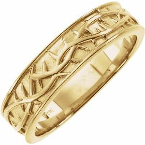14K Yellow 6 mm Thorn Design Band Size 10