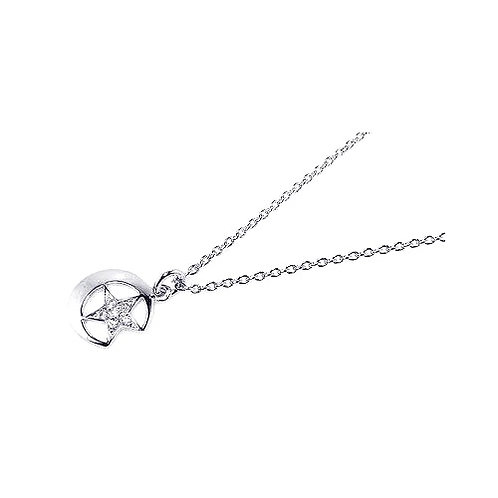 925 Clear CZ Rhodium Plated Sun Star Pendant Necklace
