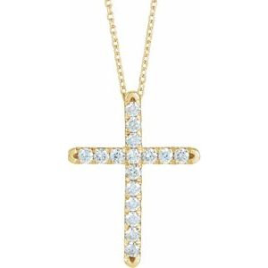 14K Yellow 1/2 CTW Diamond French-Set Cross Necklace