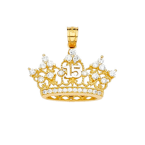 14KY 15 YEARS CZ CROWN PENDANT