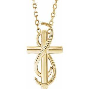 "14K Yellow Cross 16-18"" Necklace"
