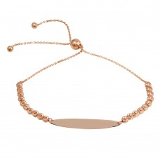 925 Rose Gold Plated Beaded Engravable ID Lariat Bracelet