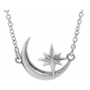 "14K White Crescent Moon & Star 16-18"" Necklace"