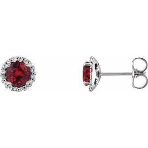 14K White Ruby & 1/6 CTW Diamond Earrings