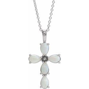 "14K White Cabochon White Opal Cross 16-18"" Necklace"