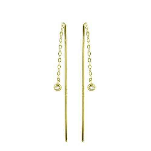 925 Rhodium Plated CZ Chain Dangling Earrings