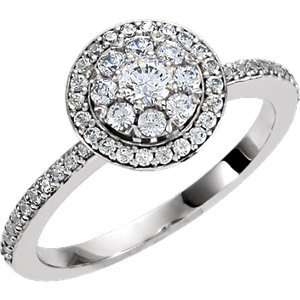 **18K White 1/3 CTW Diamond Halo-style Cluster Engagement Ring