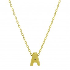 925 Gold Plated Small Initial A Necklace