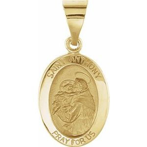 14K Yellow 15x11 mm Oval Hollow St. Anthony Medal