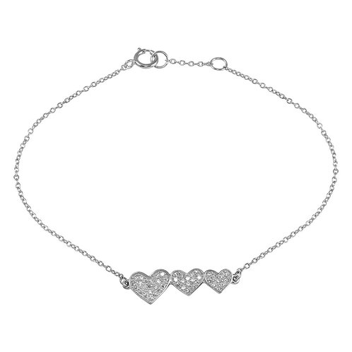 925 Rhodium Plated Double 3 CZ Hearts Chain Bracelet