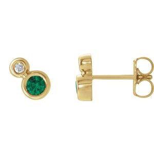 14K Yellow Emerald & .03 CTW Diamond Earrings