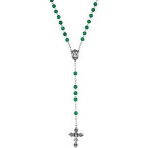 Sterling Silver Dyed Green Quartz Rosary